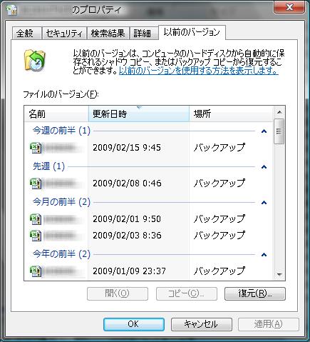 Windows Vista ファイル復旧画面