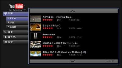 テレビで YouTubeの画面