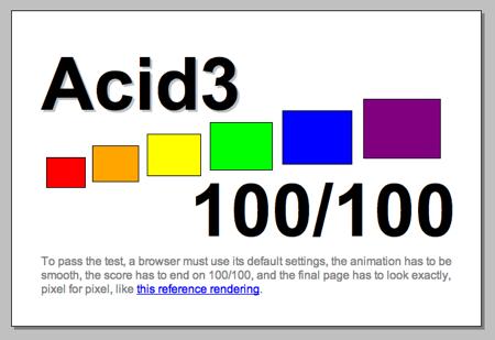 合格画面 Acid3 テスト アシッドスリー