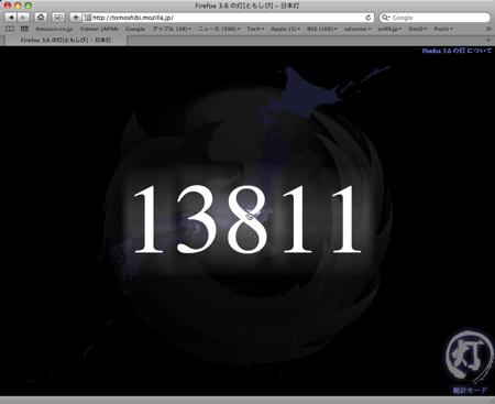 Firefox 3.6 リリース 2010/01/22 10:46 ダウンロード数